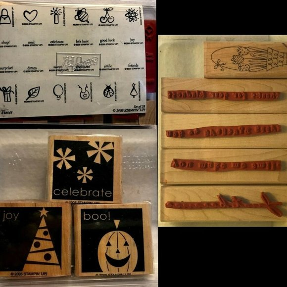 STAMPIN' UP!  35 Rubber Stamps New & Used Misc